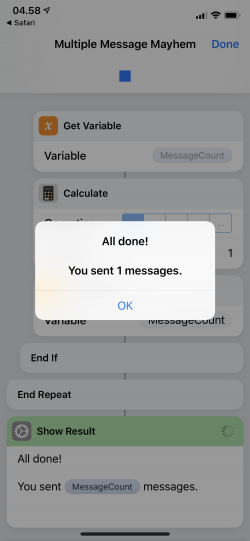 Screenshot for Apple Siri Shortcuts Multiple Message Mayhem 3