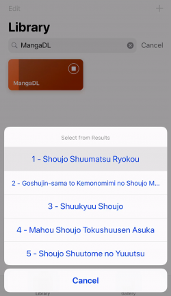 Screenshot for Apple Siri Shortcuts MangaDL 2