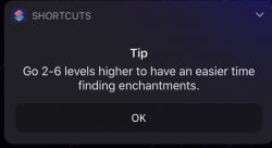 Screenshot for Apple Siri Shortcuts Lowest Levels For Top Level Enchants 6